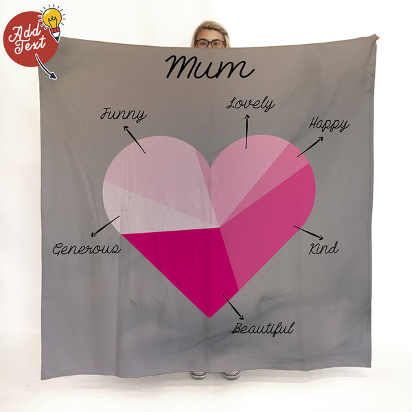 Love Heart Pink Pie Chart - Add Your Text -  Fleece Blanket