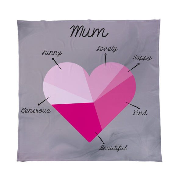 Love Heart Pink Pie Chart Add Your Text Personalised Fleece Blanket