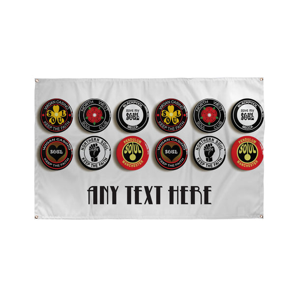 Northern Soul Badges Bar, Pub, Cocktail Bar Banner - 5ft x 3ft