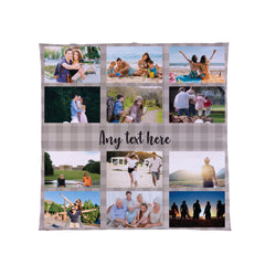 Gingham Neutral - Personalised Photo Fleece Blanket