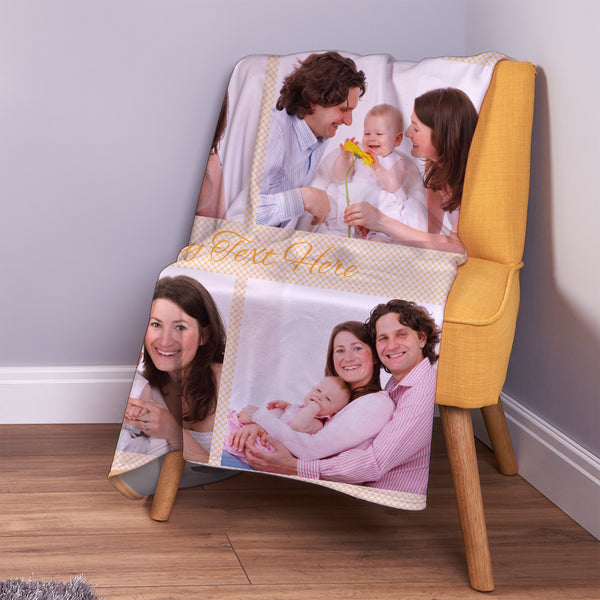 Orange Gingham - 4 Photo - Personalised Photo Fleece Blanket