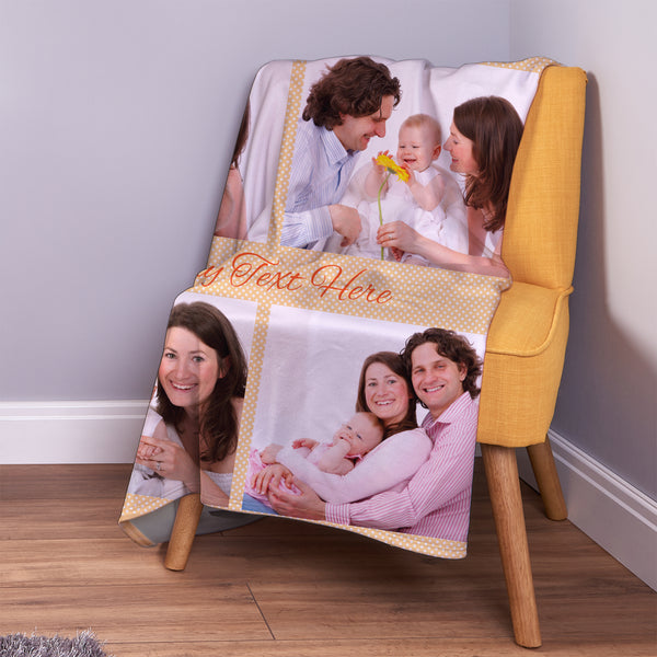 Orange Polka Dots - 4 Photo - Personalised Photo Fleece Blanket