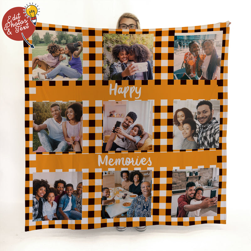 Orange Gingham - 9 Photo - Personalised Photo Fleece Blanket