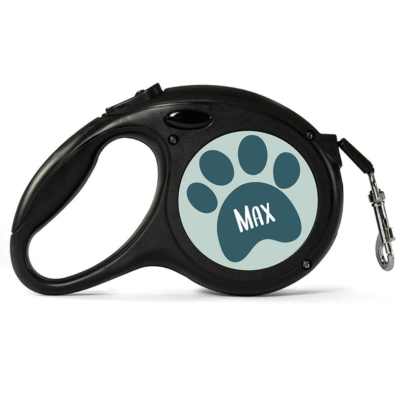 Personalised Black Retractable Dog Lead - Paw - Large