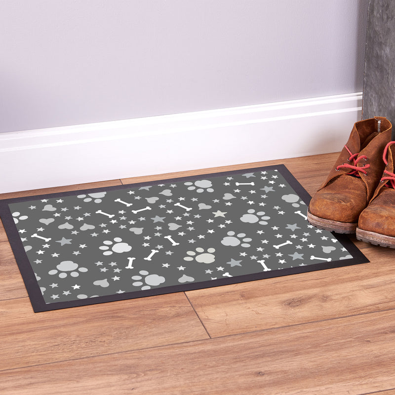 Paw Prints Grey - Pet Bowl Mat