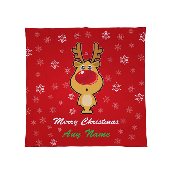 Personalised Cartoon Reindeer - Christmas Fleece Blanket