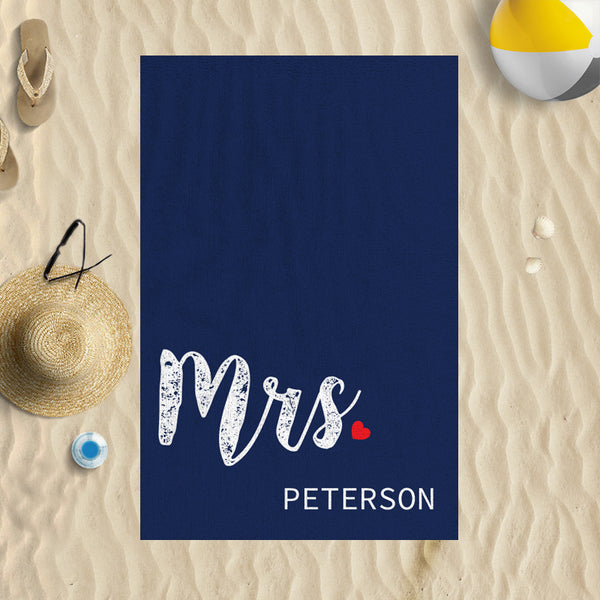 Mrs Personalised Beach Towel