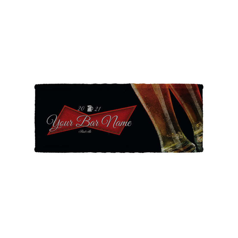 Pint Glass Red Beer Label - Personalised Bar Towel