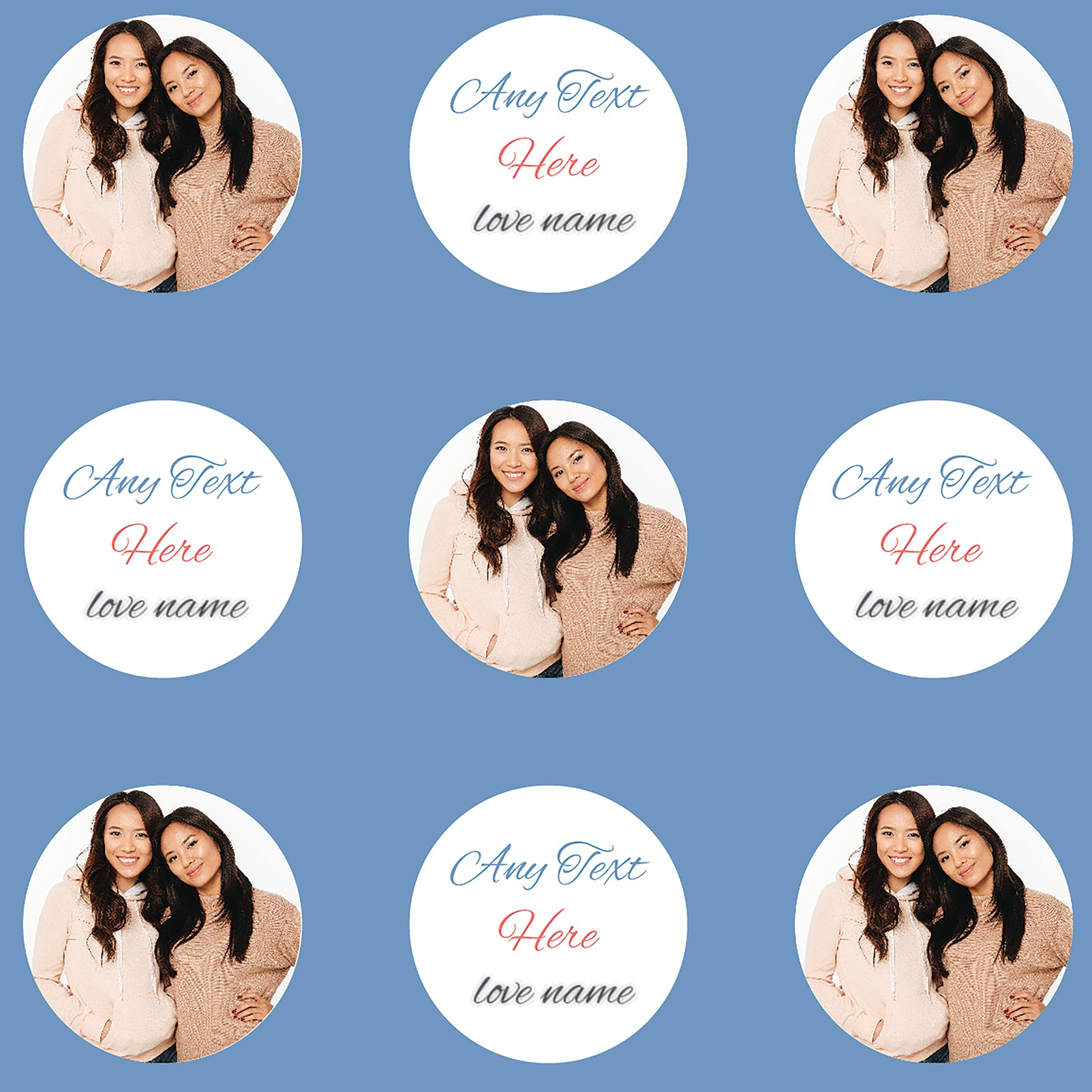 Circle Photos Blue Personalised Beach Towel