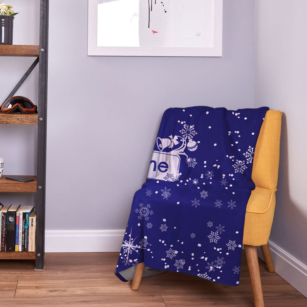 Personalised Snowy Blue - Christmas Fleece Blanket