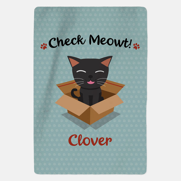 Personalised Black Cat Blanket - Check Meowt - Blue