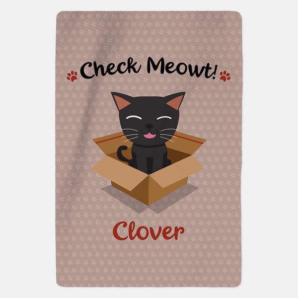 Personalised Black Cat Blanket - Check Meowt - Pink
