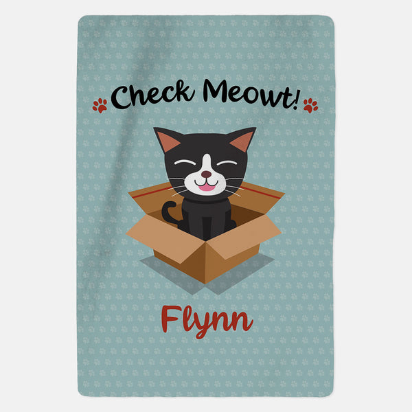 Personalised Black and White Cat Blanket - Check Meowt - Blue