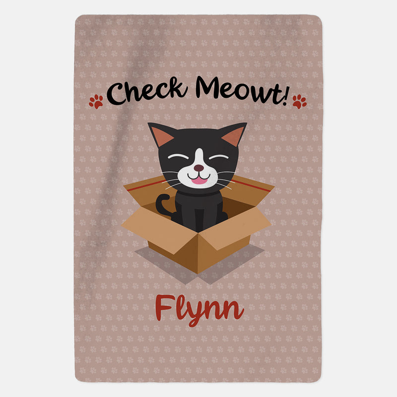 Personalised Black and White Cat Blanket - Check Meowt - Pink
