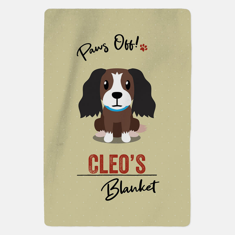Personalised Brown and White Cocker Spaniel Blanket - Paws Off