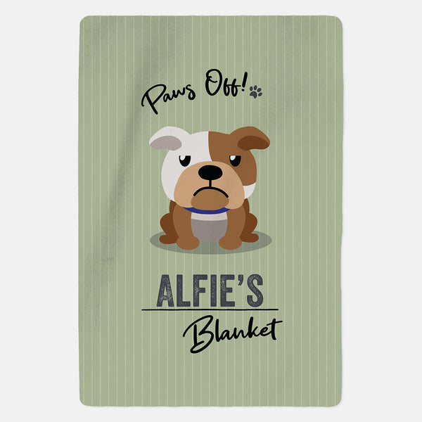 Personalised Bulldog Blanket - Paws Off