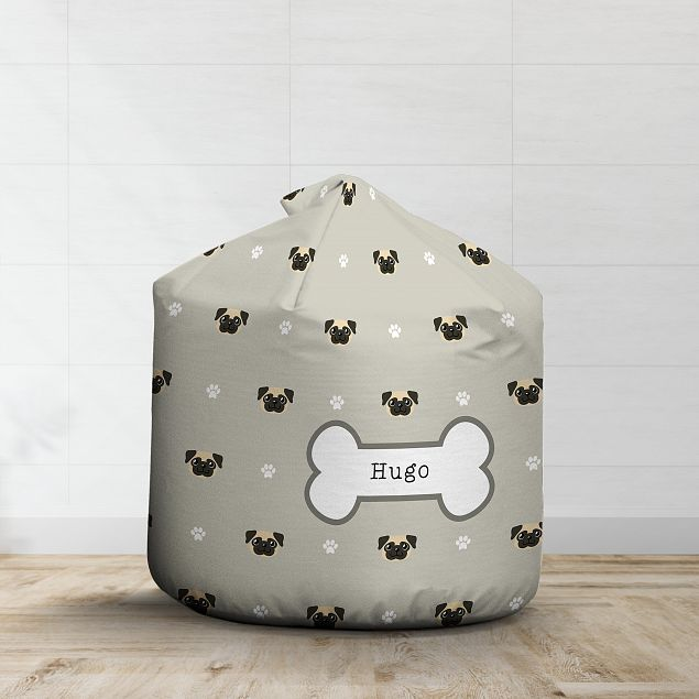 Personalised Fawn Pug Bean Bag - Pattern