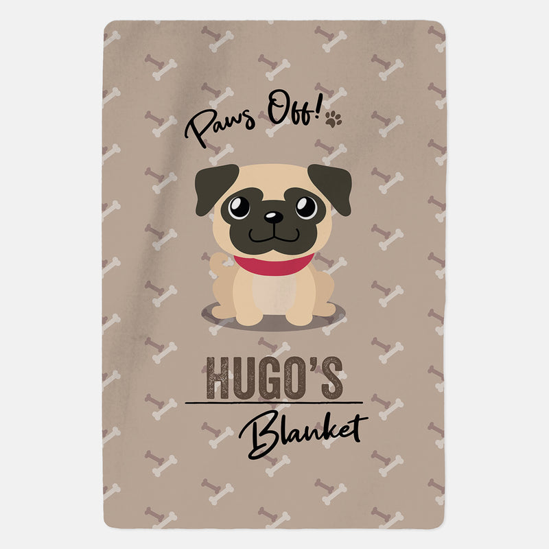 Personalised Fawn Pug Blanket - Paws Off