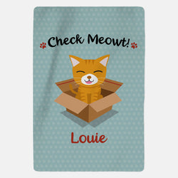 Personalised Ginger Cat Blanket - Check Meowt - Blue