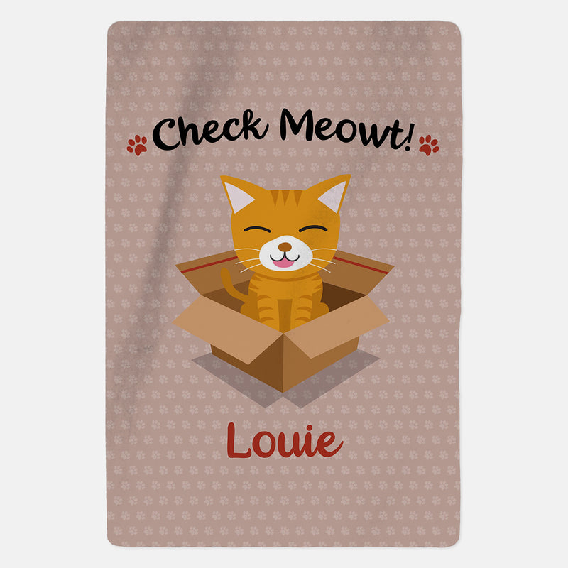 Personalised Ginger Cat Blanket - Check Meowt - Pink
