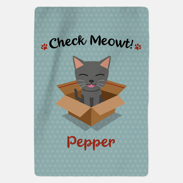 Personalised Grey Cat Blanket - Check Meowt - Blue