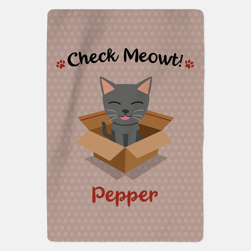 Personalised Grey Cat Blanket - Check Meowt - Pink