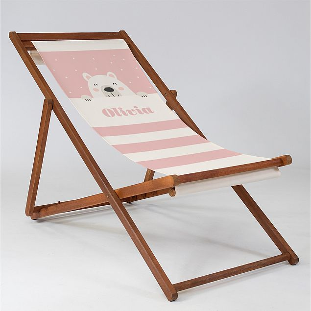 Personalised Pink Bear Cub - Baby Deck Chair
