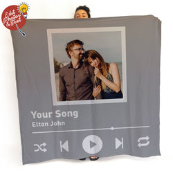 Personalised Song Photo Blanket - 1 Photo - Personalised Fleece