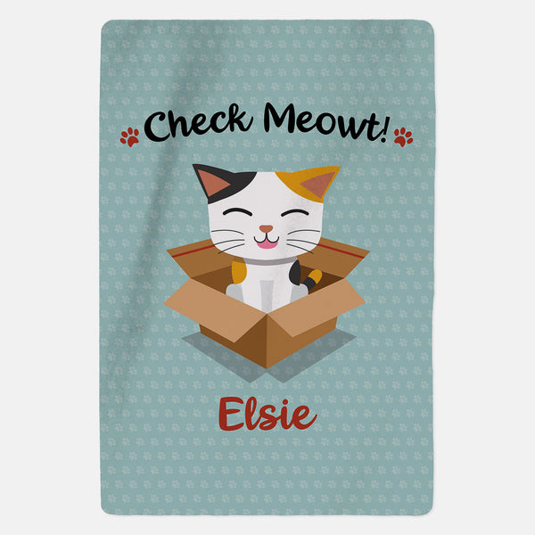 Personalised Tabby Cat Blanket - Check Meowt - Blue