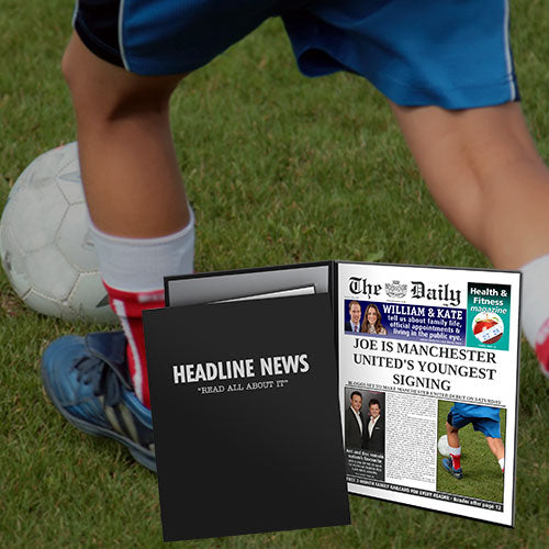 Personalised The Daily News Youngest Signing News Folder - Male