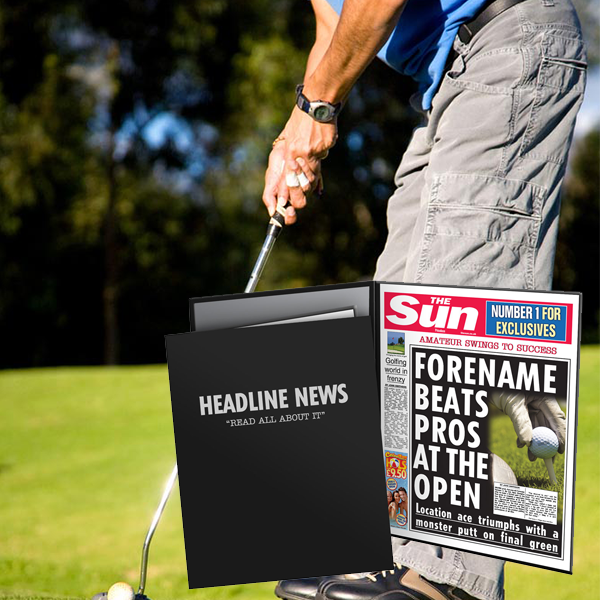 Personalised The Sun Golf News Folder - Male
