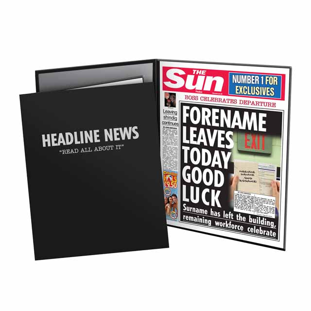 Personalised The Sun Leaving News Folder - Female
