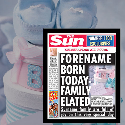 Personalised The Sun New Baby News Single Page Print - Female