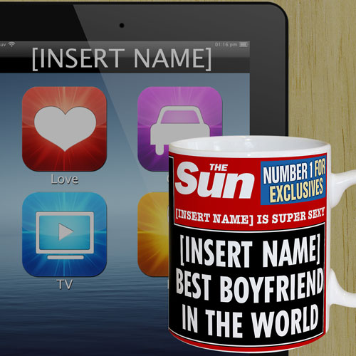 Personalised The Sun News Best Boyfriend Mug