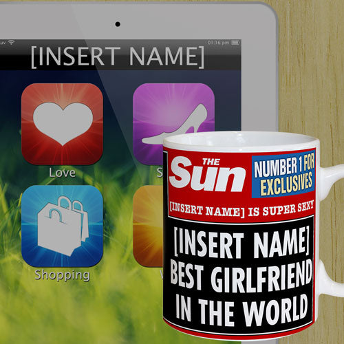 Personalised The Sun News Best Girlfriend Mug