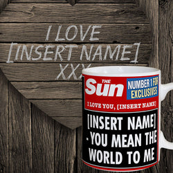 Personalised The Sun News  I Love You Mug