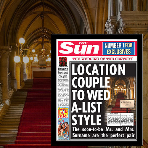 Personalised The Sun Wedding News Single Page Print - Wedding Gift