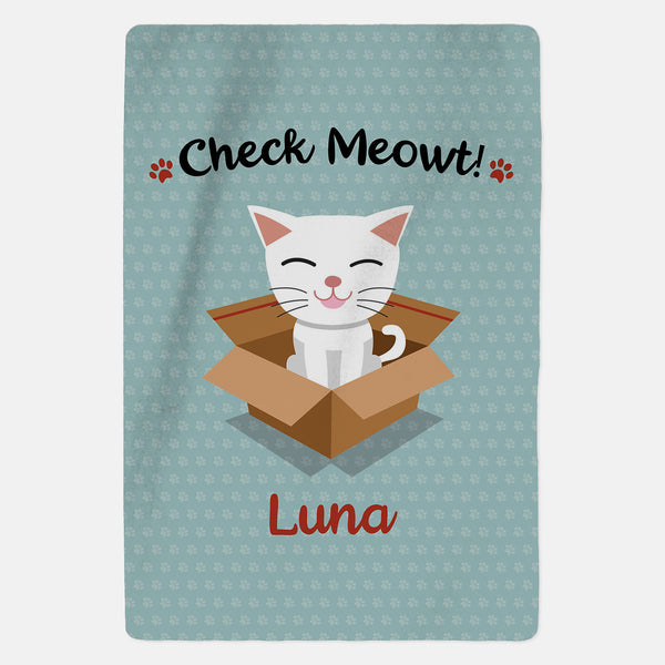 Personalised White Cat Blanket - Check Meowt - Blue