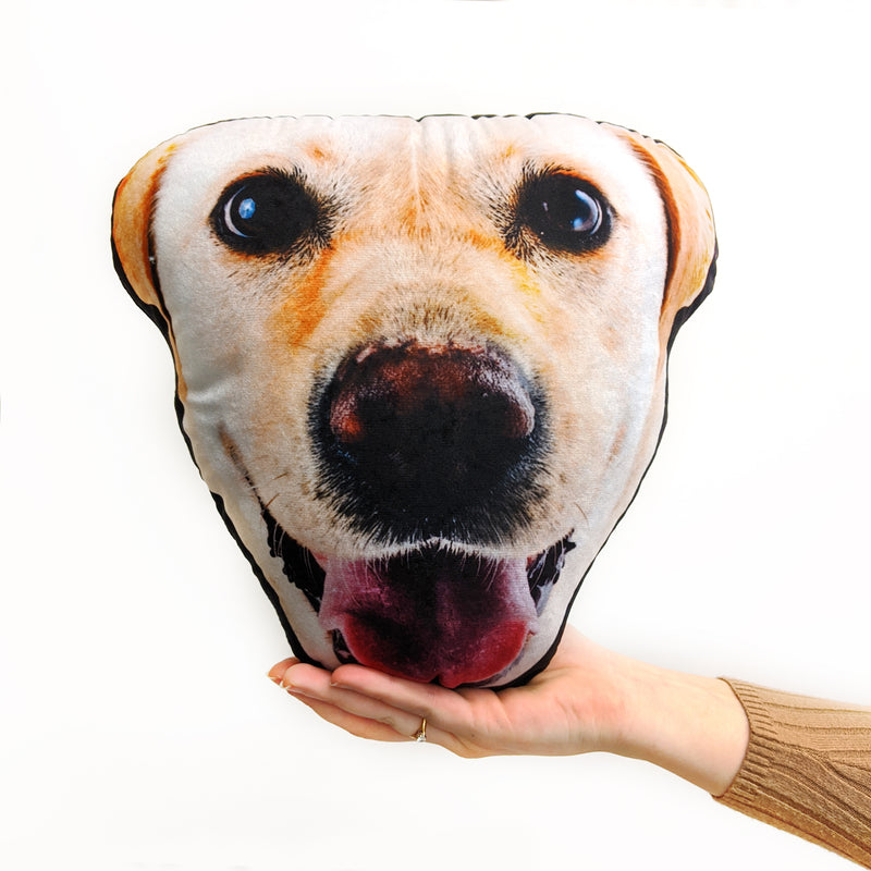personalised dog face cushion