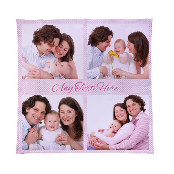 Pink Gingham - 4 Photo - Personalised Photo Fleece Blanket