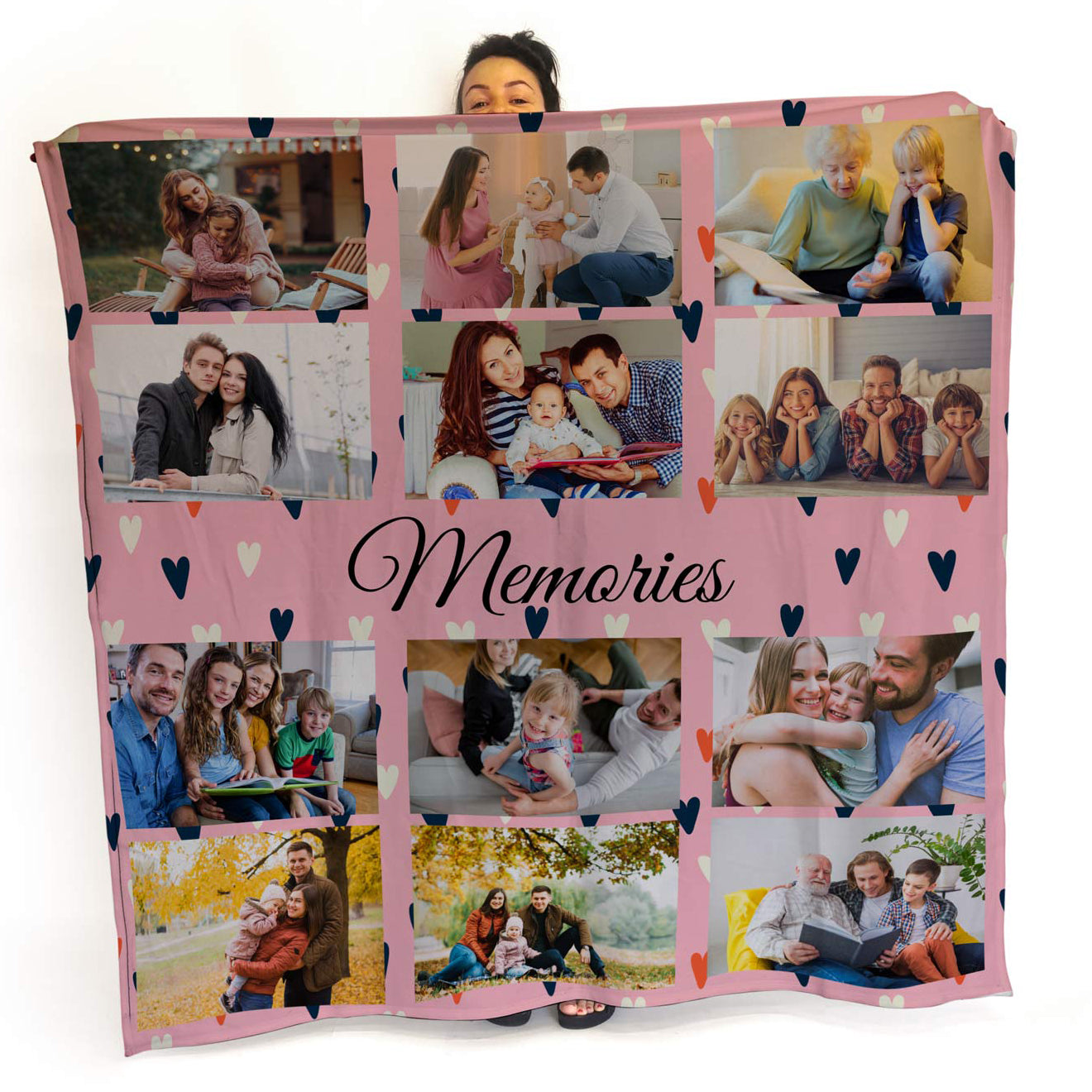 Love Hearts - Personalised Photo Fleece Blanket