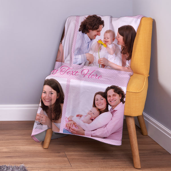 Pink Polka Dot - 4 Photo - Personalised Photo Fleece Blanket