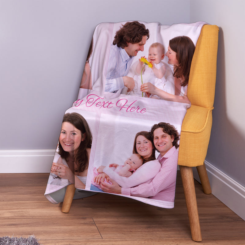 Pink Stripes - 4 Photo - Personalised Photo Fleece Blanket