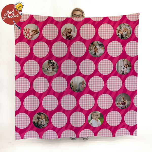 Pink Polka Dot - 10 Photo - Personalised Photo Fleece Blanket