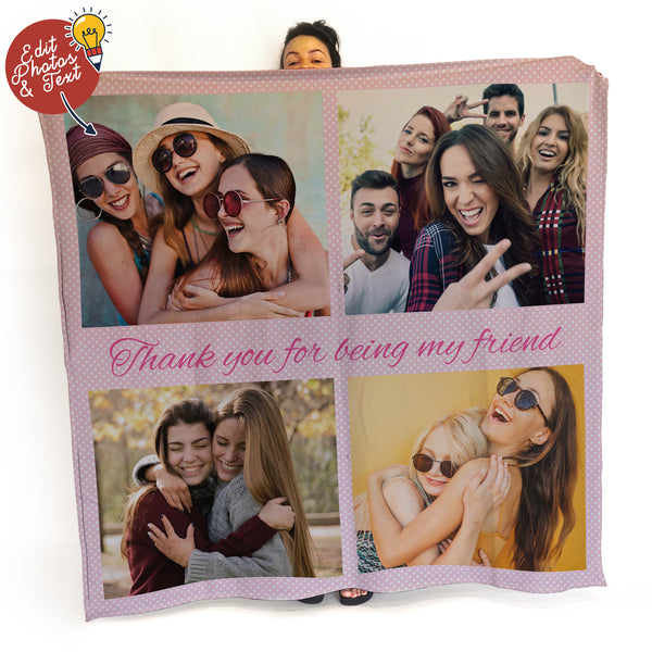 Pink Polka Dot - 4 Photo -  Photo Fleece Blanket