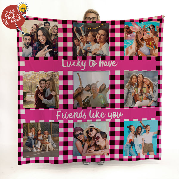 Pink Gingham - 9 Photo -  Photo Fleece Blanket