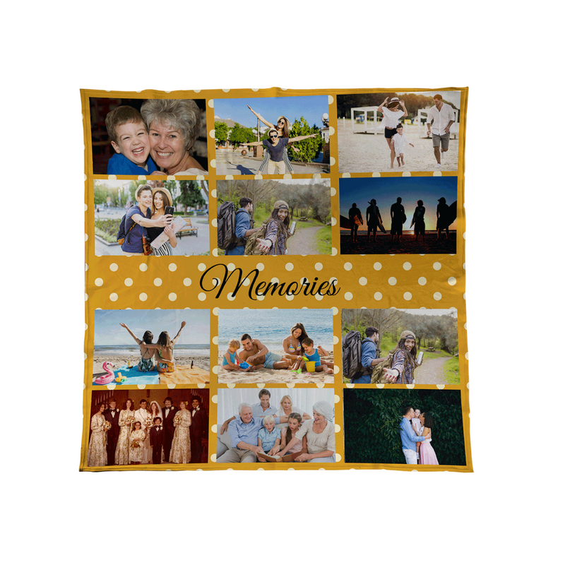 Mustard Yellow Polka Dot - Personalised Photo Fleece Blanket