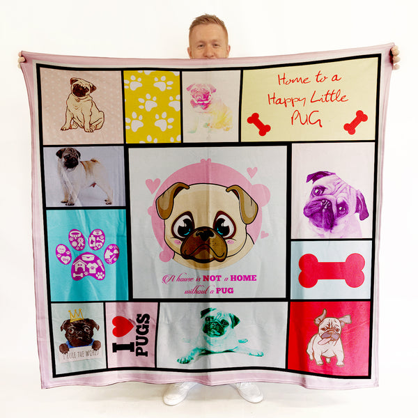 Pug - Colourful Pet Blanket