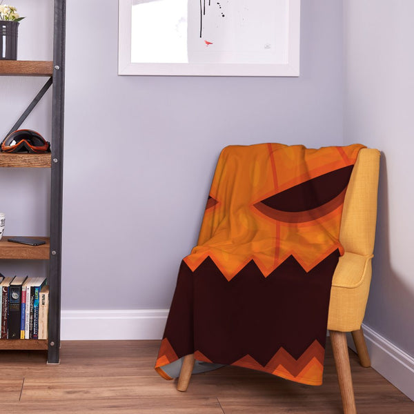 Large Pumpkin Face - Halloween Fleece Throw