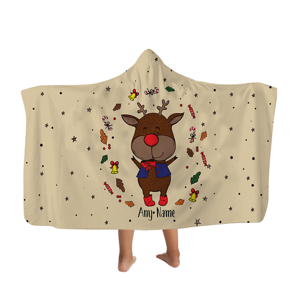 Reindeer - Neutral - Hooded Blanket - Kids